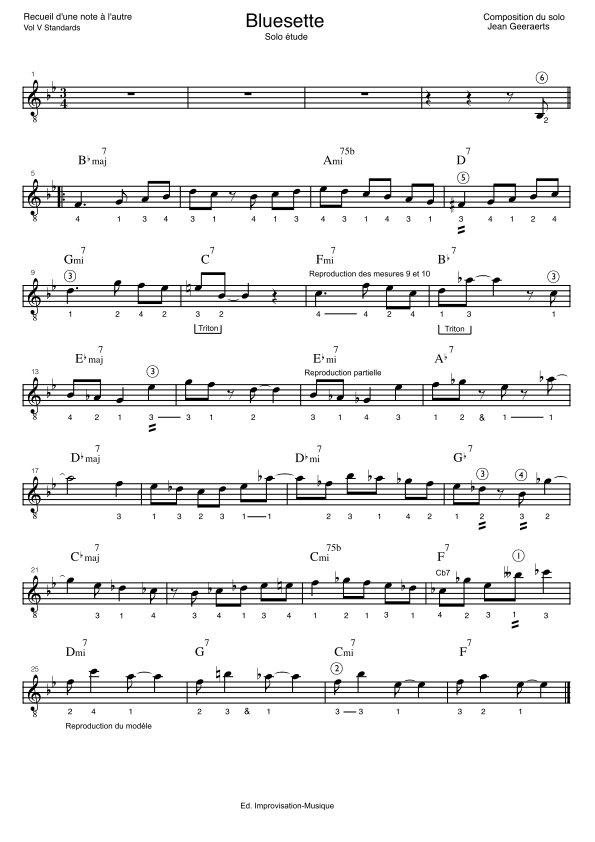 Recueil D'une Note à l'autre - Vol5 - Extrait de partition solo Bluesette
