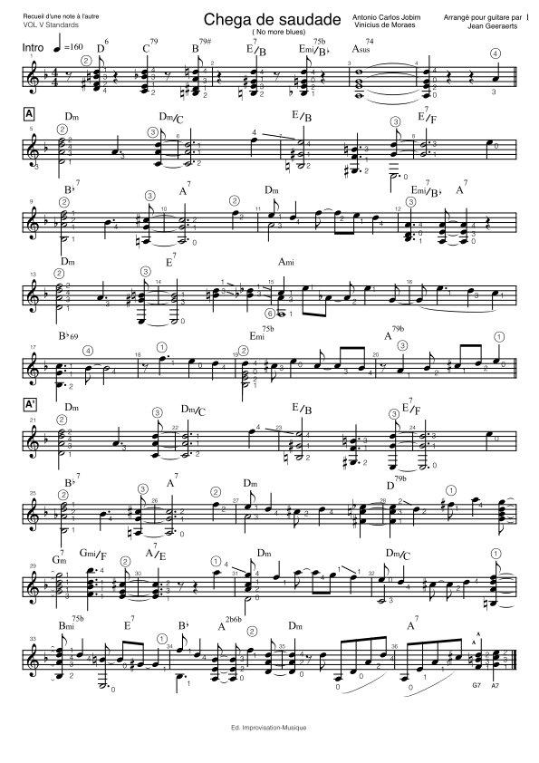 Recueil D'une Note à l'autre - Vol5 - Extrait de partition arrangement Chega de saudade