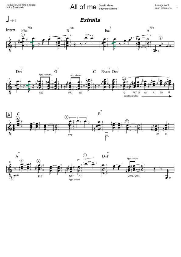 Recueil D'une Note à l'autre - Vol5 - Extrait de partition arrangement All of me