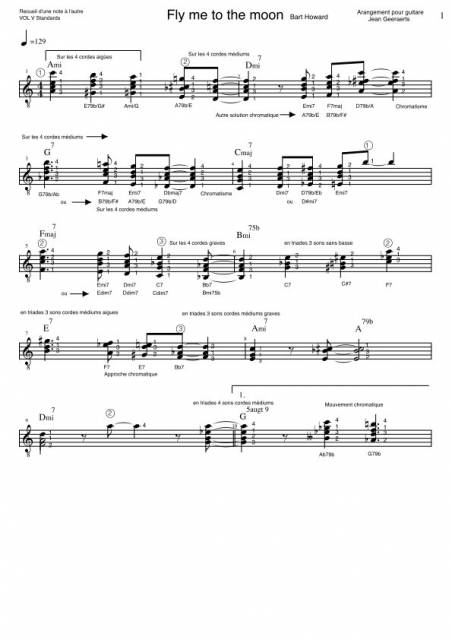 Recueil D'une Note à l'autre - Vol5 - Extrait de la partition arrangement de Fly me to the moon