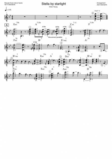 Recueil D'une Note à l'autre - Vol5 - Extrait de partition pour l'arrangement de Stella by starlight