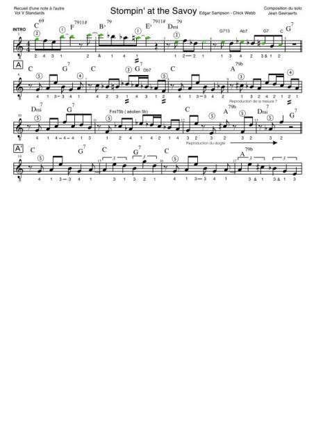 Recueil D'une Note à l'autre - Vol5 - Extrait de partition pour le solo guitare de Stompin' at the savoy