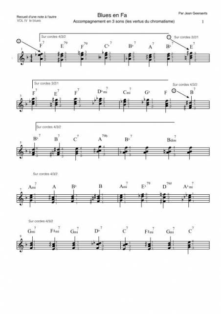 Partition blues en 3 sons - Recueil d'une note à l'autre Volume 4
